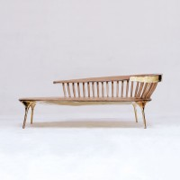 <a href=https://www.galeriegosserez.com/gosserez/artistes/loellmann-valentin.html>Valentin Loellmann </a> - Brass - Lounge Chair with Spindled Back